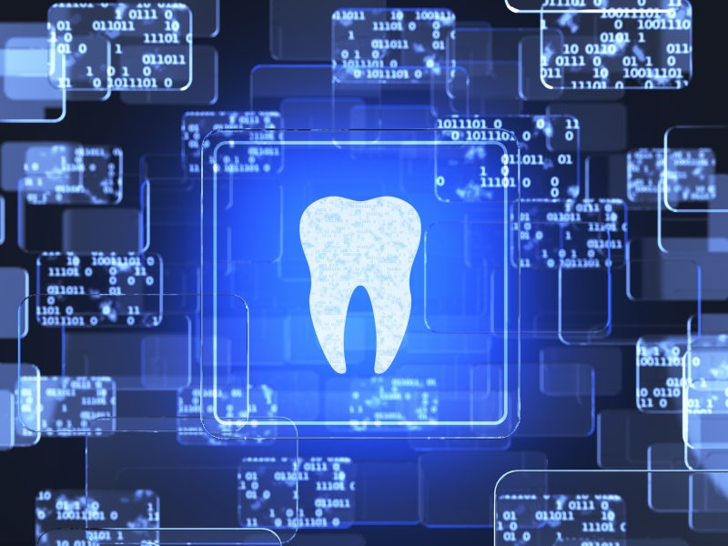 dental technology tooth icon on screen